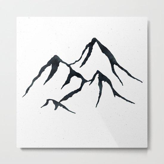 MOUNTAINS Black and White Metal Print