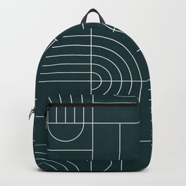 My Favorite Geometric Patterns No.26 - Green Tinted Navy Blue Backpack