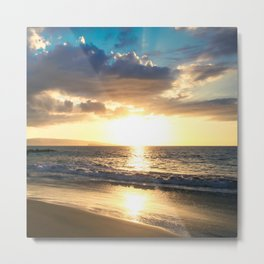 Poolenalena Beach Sunset Makena Maui Hawaii Metal Print