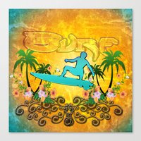 surfing Canvas Prints featuring Surfing by nicky2342