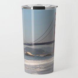 Boogie Boarding at Baker Beach, San Francisco Photography, Travel California, Golden Gate Bridge Art Travel Mug