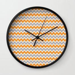 Coral Orange and Gray Grey Chevron Wall Clock