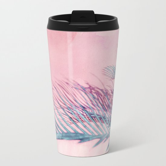 Velvet Pink Palms Metal Travel Mug