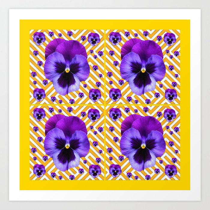 Purple Pansies Flowers Yellow Patterns Art Art Print By Sharlesart
