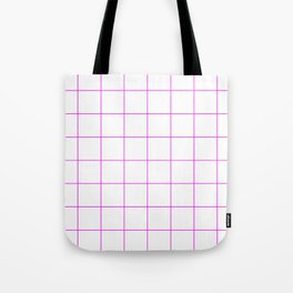 Graph Paper (Magenta & White Pattern) Tote Bag