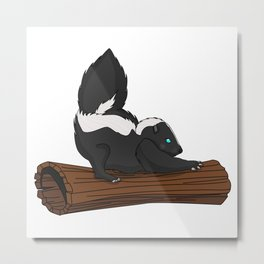Stripy Skunk Metal Print