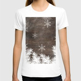 Winter white snow pine trees brown rustic wood Christmas T-shirt