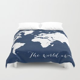 The world awaits world map Duvet Cover