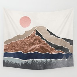 Mount Hood // Daylight Art Print Oregon Stratovolcano Rose Gold Silver Blue Cream Black Mountain Wall Tapestry