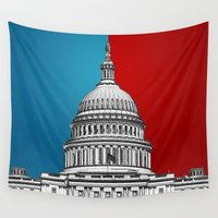 politics Wall Tapestries featuring American Politics by politics