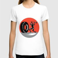 workout T-shirts featuring Tire Sledgehammer Workout Woodcut by patrimonio