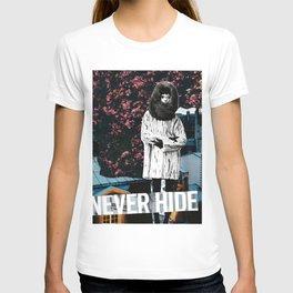 Never Hide Burgundy Handmade Collage T-shirt