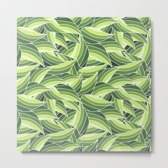 GREENERY LEAVES W  (abstract flowers nature) Metal Print