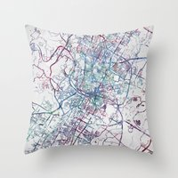 austin Throw Pillows featuring Austin map by MapMapMaps.Watercolors