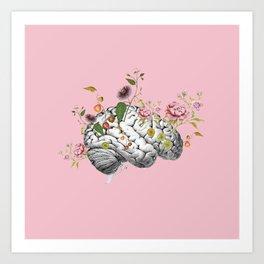 Brain Flowers Collage Art Print