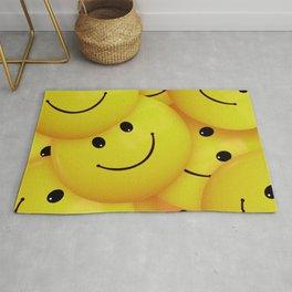 Smiles Yellow Round Smileys Rug