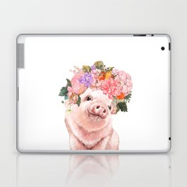 Lovely Baby Pig with Flowers Crown Laptop & iPad Skin