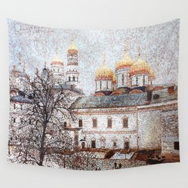 The Cathedral of the Dormition and Ivan the Great Bell Tower in the Moscow Kremlin Wall Tapestry