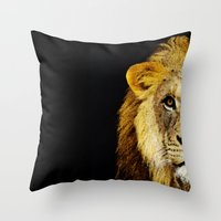 nfl Throw Pillows featuring Lion Art - Face Off by Sharon Cummings
