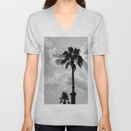 Palm Trees In Black And White Unisex V-Neck