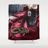 mother of dragons Shower Curtains featuring mother of dragons by YattaGiulia