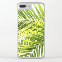 Palm leaves tropical illustration Clear iPhone Case