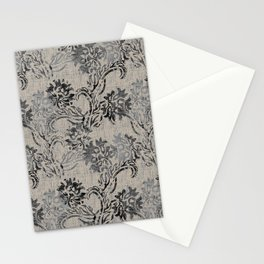 Taupe and Gray Floral Tapestry Repeat Pattern Stationery Cards