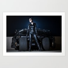 Catwoman and the Batmobile Tumbler Art Print