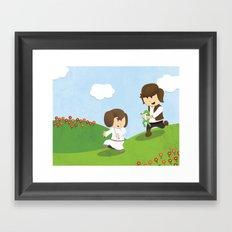 SW Kids - Han Chasing Leia Framed Art Print