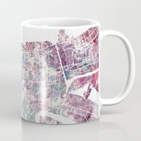 new orleans Mugs featuring New Orleans  by MapMapMaps.Watercolors