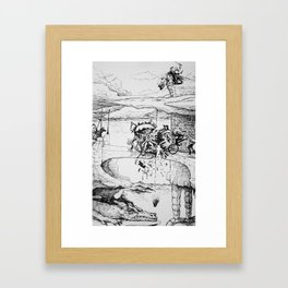 Knight, King, and a Dragon Castle in the Clouds Pen and Ink drawing Framed Art Print