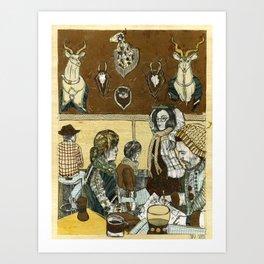 Taxidermy Cafe Art Print