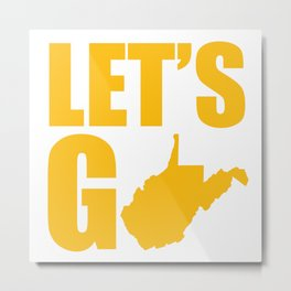 West Virginia State Outline WVU Mountaineers Metal Print