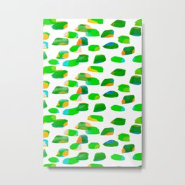 Lime Green Watercolor Dash Line Metal Print