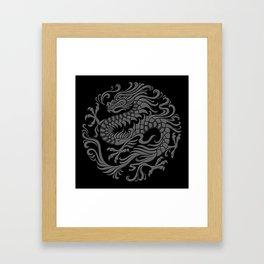 Traditional Gray and Black Chinese Dragon Circle Framed Art Print