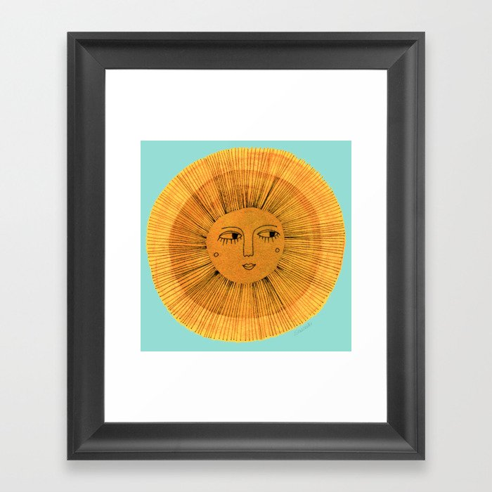 Sun Drawing Gold and Blue Framed Art Print