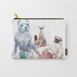 The pitbull pug and chi sat down for some tea Carry-All Pouch