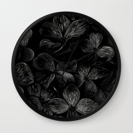 Dark Hydrangeas Wall Clock