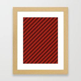 Bright Red and Black Diagonal RTL Var Size Stripes Framed Art Print