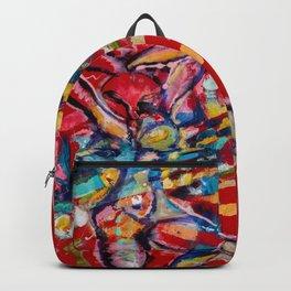Red emotion mix media on velvet Backpack
