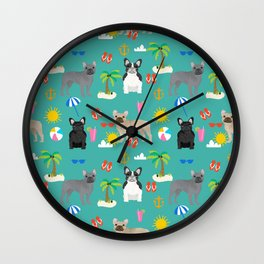 French Bulldog summer beach dog breed gifts frenchies pet portrait tropical palm trees Wall Clock