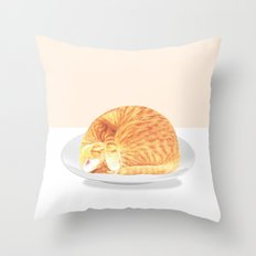 Kitty on plate Throw Pillow