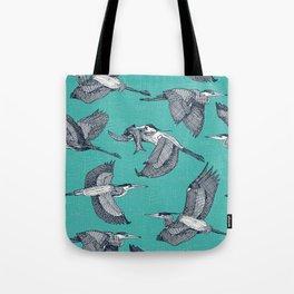 great blue herons verdigris Tote Bag