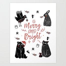 Christmas black and white animals Art Print