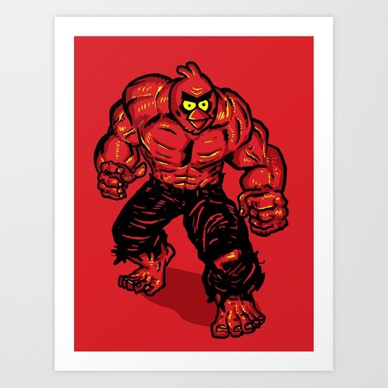 Angry Bird hulk Red Art Print