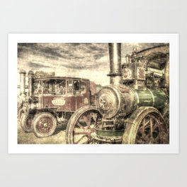Steam Lorry And Traction Engine Vintage Art Print