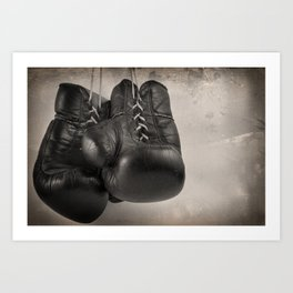 Boxing Gloves black and white Art Print