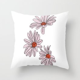 Daisy botanical line illustration - Bud Throw Pillow