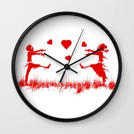 Zombies in Love Red Wall Clock