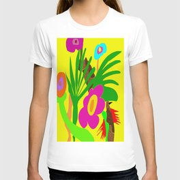 VERY SIMPLE NEON 1980'S STYLE JUNGLE ART DESIGN  T-shirt